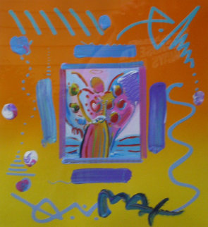 Angel with Heart Collage, Version II  14x12 1998 Works on Paper (not prints) - Peter Max