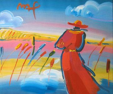 Walking in Reeds 1999 17x24 Works on Paper (not prints) by Peter Max