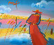 Walking in Reeds 1999 17x24 Works on Paper (not prints) by Peter Max - 0