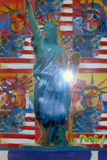 God Bless America with Five Liberties 24x18 Unique Original Painting - Peter Max