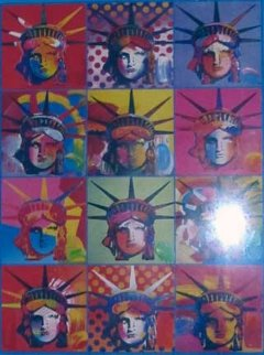 Liberty and Justice for All Unique 2001 Works on Paper (not prints) by Peter Max