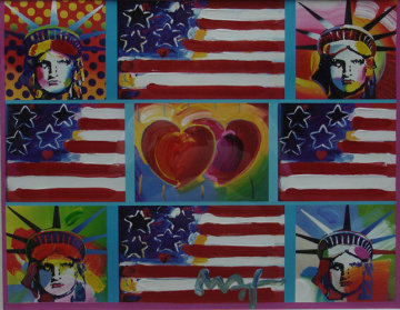 Patriotic Series Unique 15x19 Works on Paper (not prints) by Peter Max