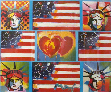 4 Liberties, 4 Flags, And 2 Hearts 2006 Unique Works on Paper (not prints) - Peter Max
