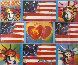 4 Liberties, 4 Flags, And 2 Hearts 2006 Unique Works on Paper (not prints) by Peter Max - 0