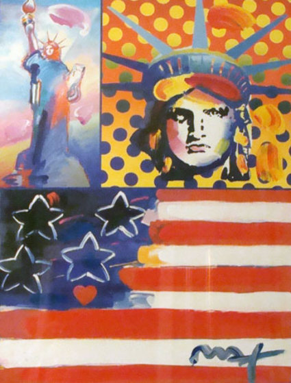 God Bless America IV 2005 Unique 28x22 Works on Paper (not prints) by Peter Max
