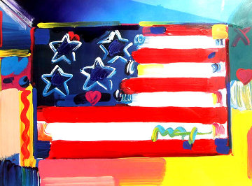American Flag with Heart 1999 30x36 Works on Paper (not prints) by Peter Max