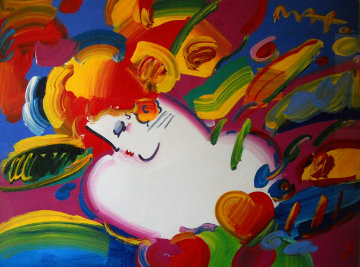 Flower Blossom Lady 1999 22x30 Works on Paper (not prints) - Peter Max