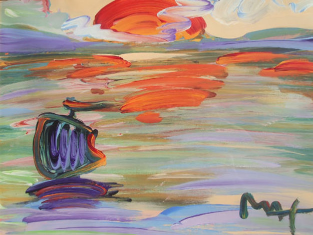 American 500: Sunset Unique  Works on Paper (not prints) by Peter Max