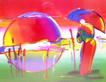 Rainbow Umbrella Man in Reeds 2007 Limited Edition Print by Peter Max