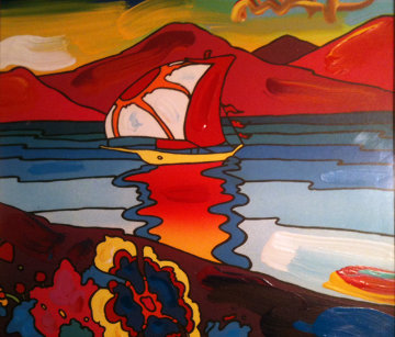 Sunset Sail from Suite: Retrospective IV Unique  22x22 Limited Edition Print - Peter Max
