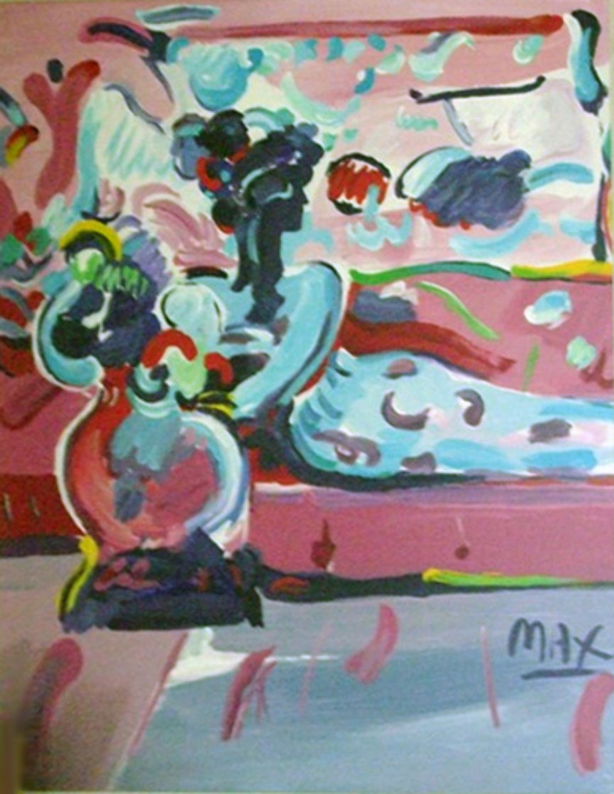 Reclining Woman on Couch 1991 44x38 Super Huge Original Painting by Peter Max