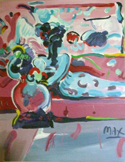 Reclining Woman on Couch 1991 44x38 Huge Original Painting - Peter Max