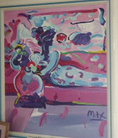 Reclining Woman on Couch 1991 44x38 Super Huge Original Painting by Peter Max - 1