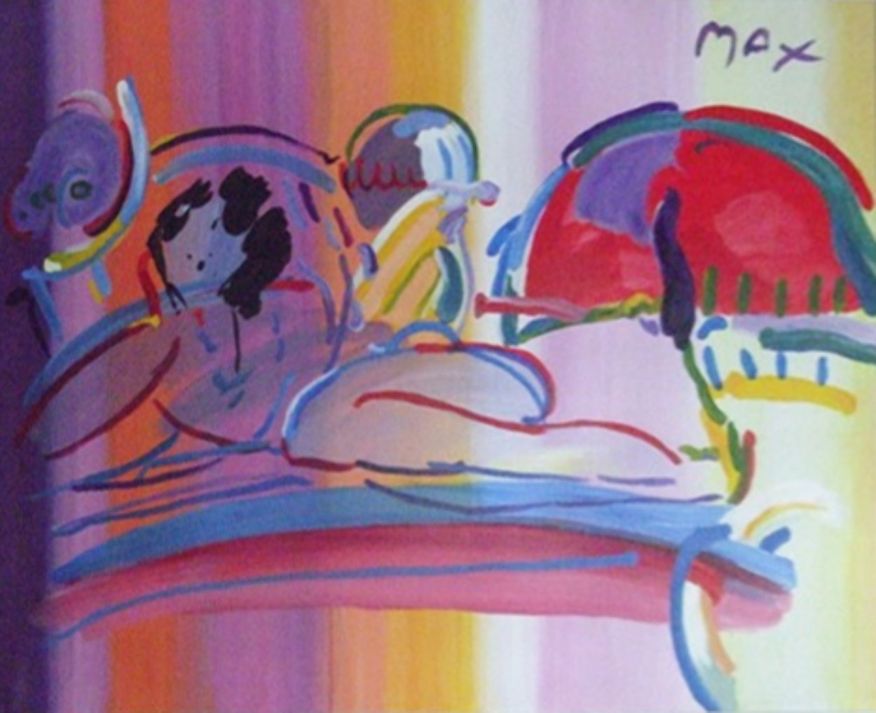 Reclining Nude 1992 37x49 Super Huge Original Painting by Peter Max