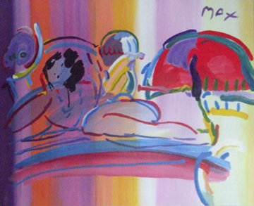Reclining Nude 1992 37x49 Super Huge Original Painting - Peter Max
