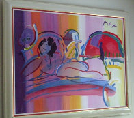 Reclining Nude 1992 37x49 Super Huge Original Painting by Peter Max - 1