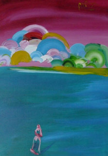 Figure and Better World 1992 50x38 Huge Original Painting - Peter Max