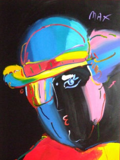 Zero (Black) 1994 60x44 Original Painting - Peter Max