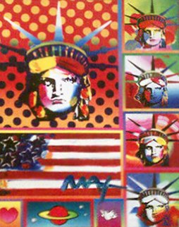 Patriotic Series: Five Liberties and Flag Unique 2006 32x28 Limited Edition Print - Peter Max