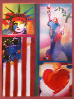 Patriotic Series: 2 Liberties, Flag, and Heart 2006 32x28 Original Painting - Peter Max