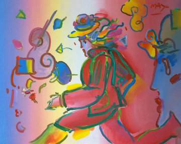 Untitled Runner and Profile  18x24 Original Painting - Peter Max