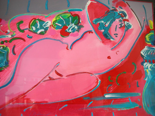 Reclining in Red 1988 35x45 Works on Paper (not prints) by Peter Max