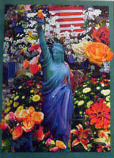Land of the Free Home of the Brave II 2005 24x18 Works on Paper (not prints) by Peter Max
