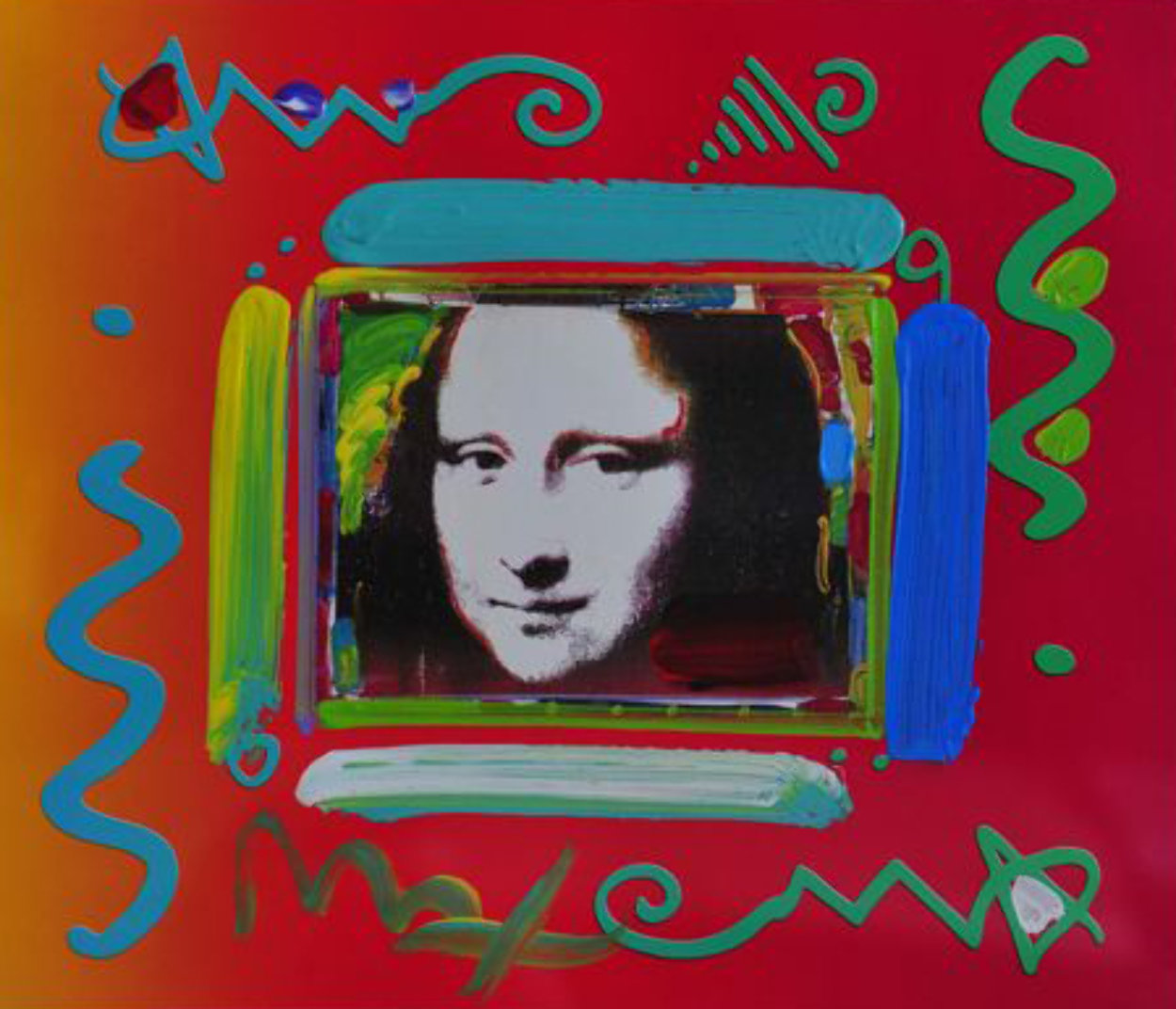 Mona Lisa Collage 2 Unique 12x14 Works on Paper (not prints) by Peter Max