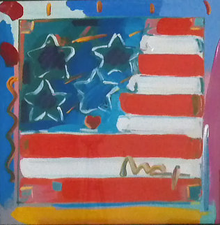 Flag with Heart Version III # 3 2003 32x32 Works on Paper (not prints) - Peter Max