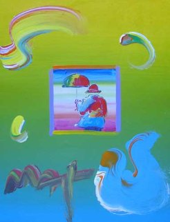 Umbrella Man 12x9 Original Painting - Peter Max