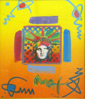 Liberty Head II Collage 1997 14x12 Works on Paper (not prints) by Peter Max