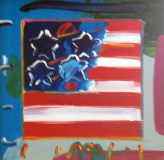 Flag with Heart Ver. XXIII #93 2008 10x10 Original Painting - Peter Max