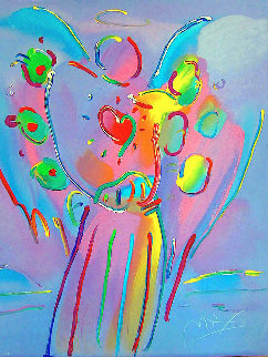 Angel With Heart PP 1990 Limited Edition Print - Peter Max