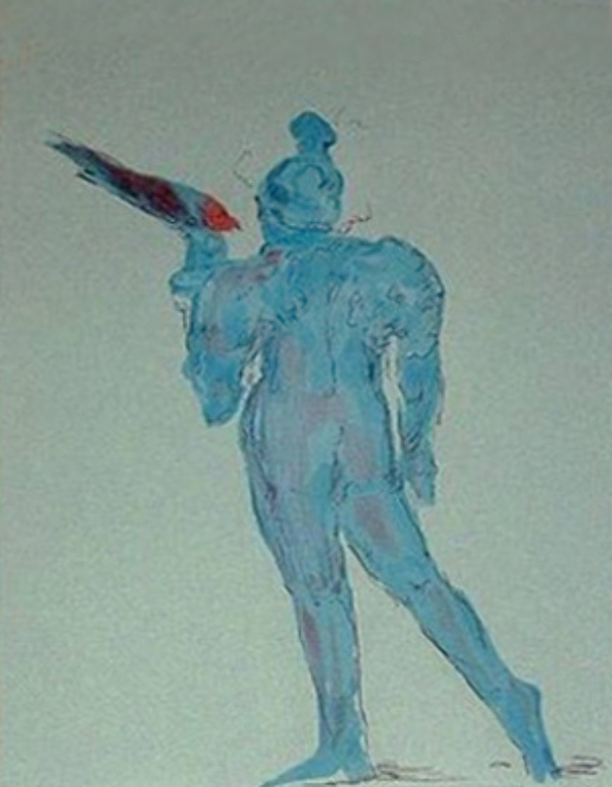 Circus Performer with Bird (early work 1972) (Vintage) Limited Edition Print by Peter Max