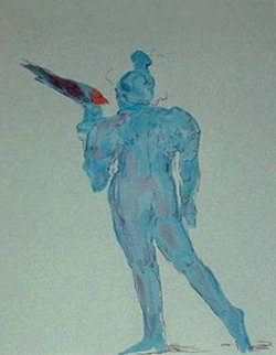 Circus Performer with Bird (early work 1972) (Vintage) Limited Edition Print - Peter Max