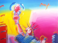 Statue of Liberty Ver. #1 2010 72x36 Super Huge  Original Painting by Peter Max - 3