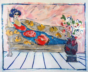 Lady on Couch - Blue (early work 1973) Limited Edition Print by Peter Max