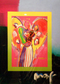 Angel with Heart Unique 2008 29x25 Works on Paper (not prints) by Peter Max