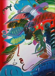Blushing Beauty 2010 46x36 Original Painting by Peter Max