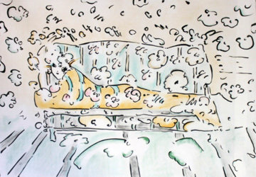 Lady on Couch Yellow (early work 1973) Limited Edition Print by Peter Max