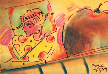 Untitled Mixed Media 1989 Works on Paper (not prints) by Peter Max