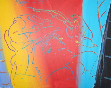 Brilliant 1987 12x28 Original Painting by Peter Max