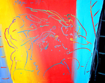 Brilliant 1987 32x26 Original Painting by Peter Max