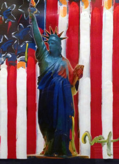 United We Stand 2001 Unique 24x18 Works on Paper (not prints) by Peter Max