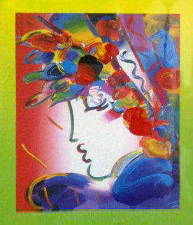 Blushing Beauty on Blends 2006 Unique 24x24 Works on Paper (not prints) - Peter Max