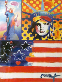 God Bless America IV Unique 24x18 Works on Paper (not prints) by Peter Max
