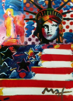 God Bless America Unique 24x18 Works on Paper (not prints) by Peter Max