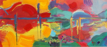 Four Seasons Series: 2 pieces Summer/Autumn Unique 25x43 Works on Paper (not prints) by Peter Max