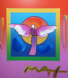 Angel With Sun on Blends 2006 26x24 Works on Paper (not prints) by Peter Max