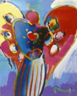 Angel With Heart Unique 36x29 Works on Paper (not prints) by Peter Max - 0